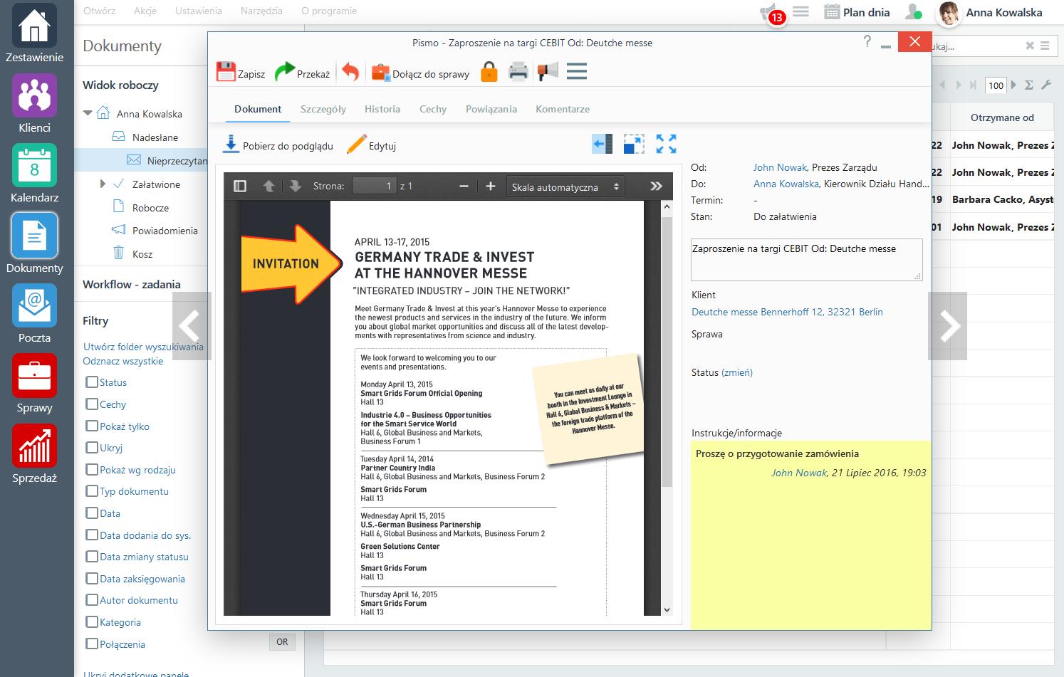 System obiegu dokumentów eDokumenty