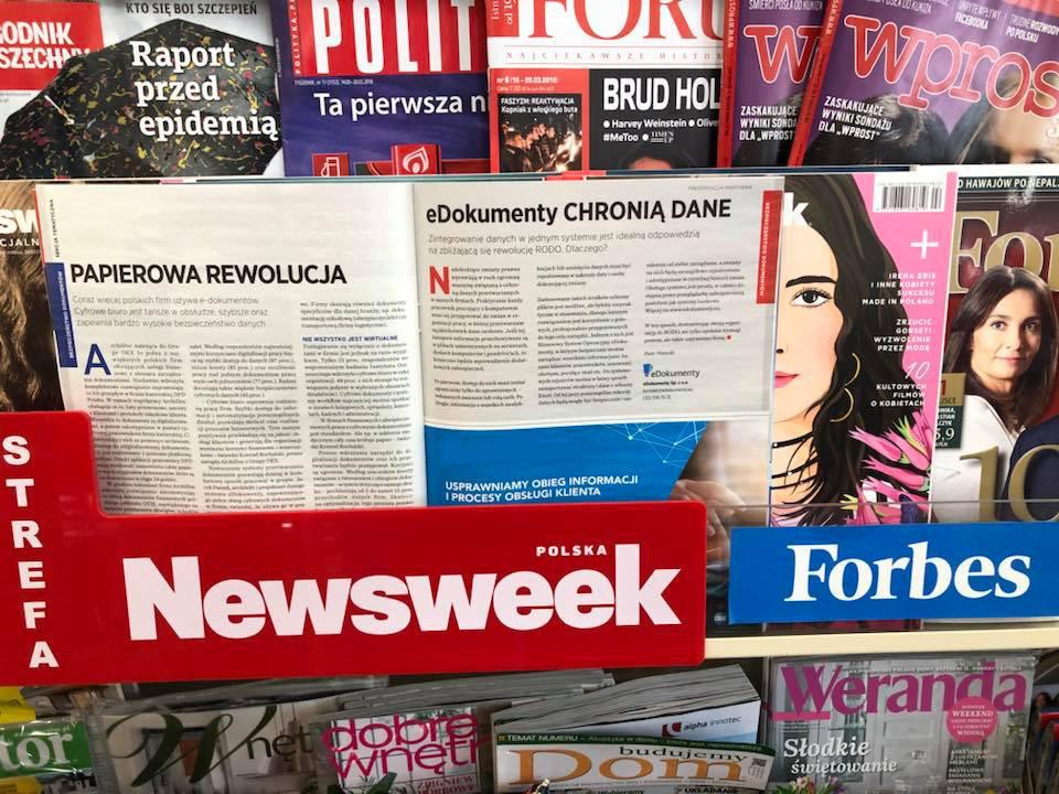 Zdjęcie artykułu w Newsweek  - eDokumenty chronią dane